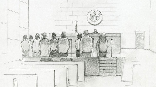 sketch of court proceedings - Documented exhibit